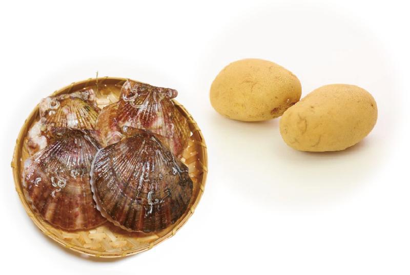 ホタテ貝とじゃがいも