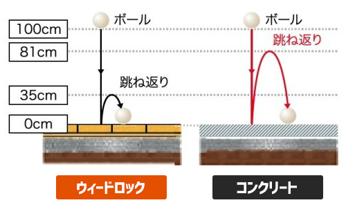 ウィードロックとコンクリートの弾力の比較