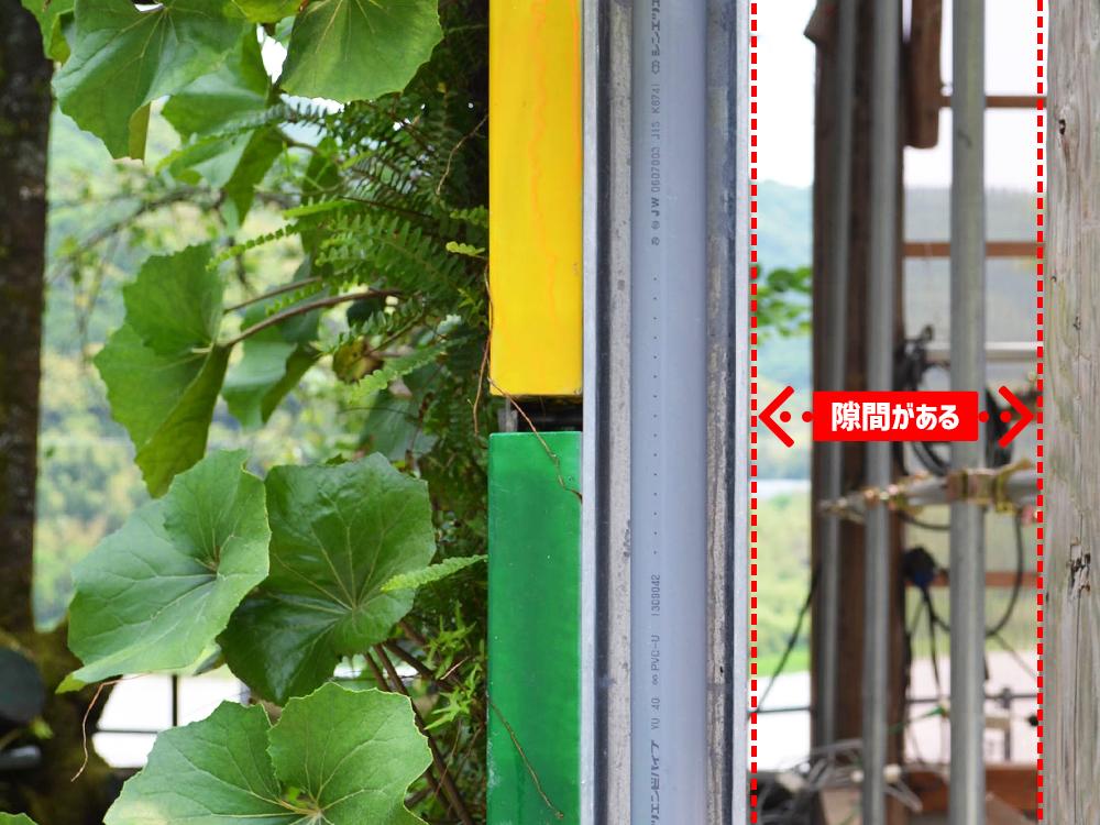 壁面緑化システム : 壁面との隙間