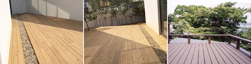 飫肥杉赤身デッキ材 施工例