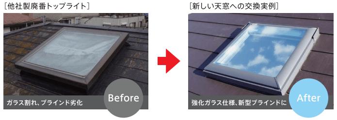 1.ガラス割れ、開閉不良、屋根カバー工法-min