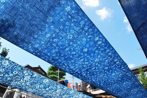 藍染による阿波藍の布