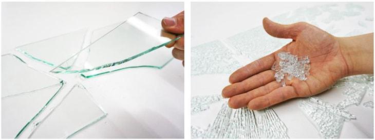 普通ガラスと強化ガラスの割れ方比較
