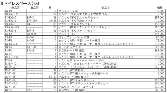 TS価格表