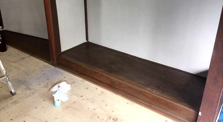 床の間の拭き漆は脱脂が重要