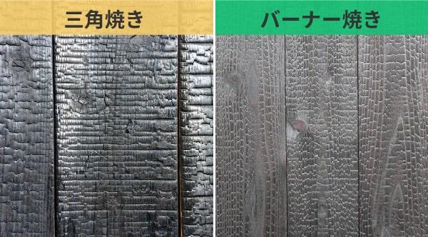 表面を炭化させて耐久性を上げる「焼杉板」:焼き方による特徴の違いを比較